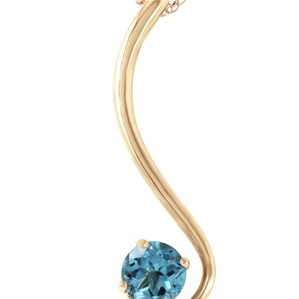 Genuine 0.55 ctw Blue Topaz Necklace 14KT Yellow Gold - REF-26T2A