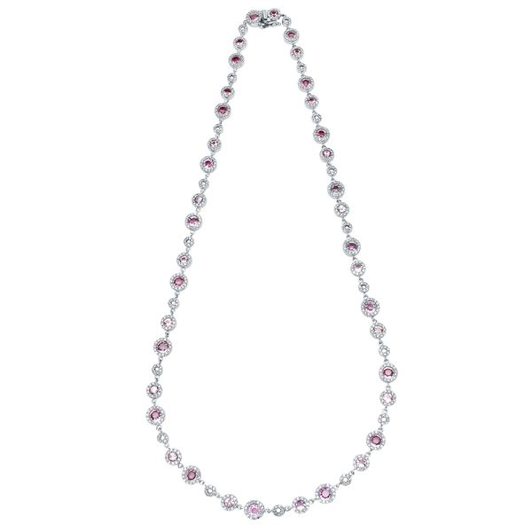 Natural 11.74 CTW Pink Sapphire & Diamond Necklace 14K White Gold - REF-454F5M