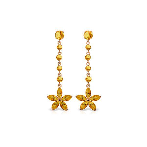 Genuine 4.8 ctw Citrine Earrings 14KT Rose Gold - REF-56K8V
