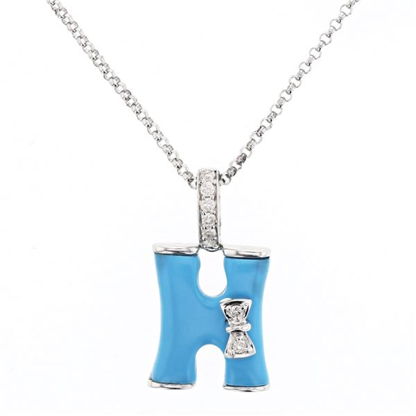 Natural 1.49 CTW Turquoise & Diamond Necklace 14K White Gold - REF-27W2H