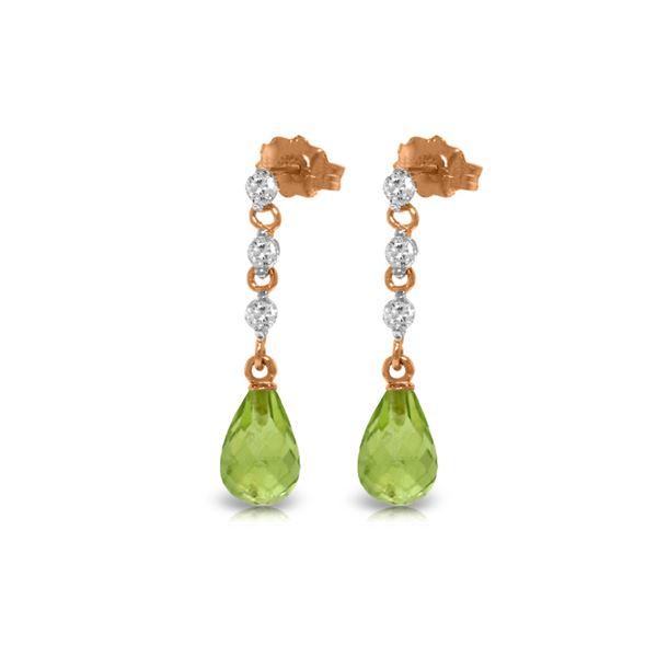Genuine 3.3 ctw Peridot & Diamond Earrings 14KT Rose Gold - REF-42H9X