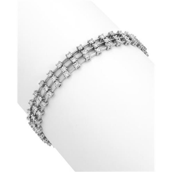 Natural 3.48 CTW Diamond & Bracelet 18K White Gold - REF-407N7Y