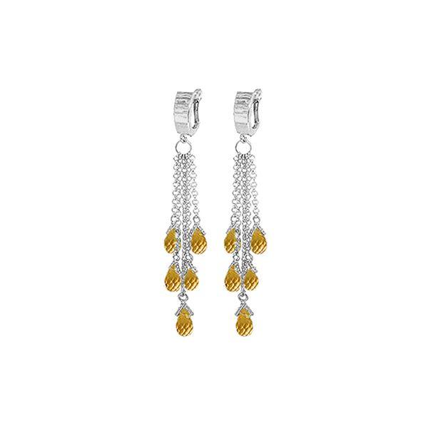 Genuine 7.3 ctw Citrine Earrings 14KT White Gold - REF-62H3X