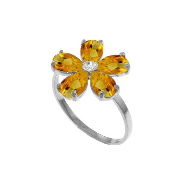 Genuine 2.22 ctw Citrine & Diamond Ring 14KT White Gold - REF-35Y9F