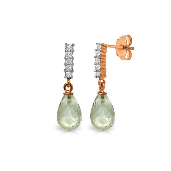 Genuine 4.65 ctw Green Amethyst & Diamond Earrings 14KT Rose Gold - REF-36M2T