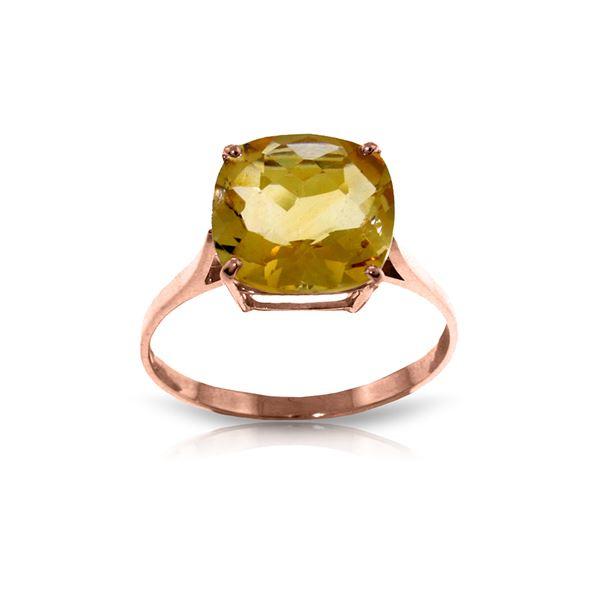 Genuine 3.6 ctw Citrine Ring 14KT Rose Gold - REF-34Z7N