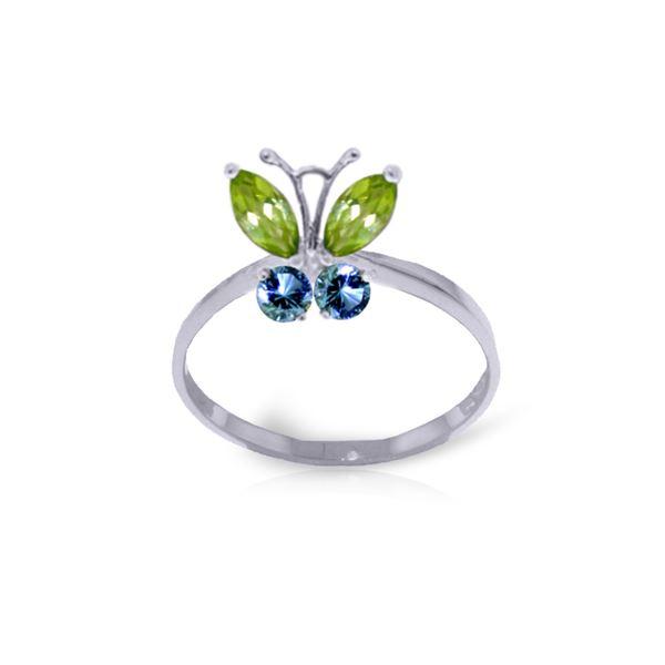 Genuine 0.60 ctw Peridot & Blue Topaz Ring 14KT White Gold - REF-28X9M