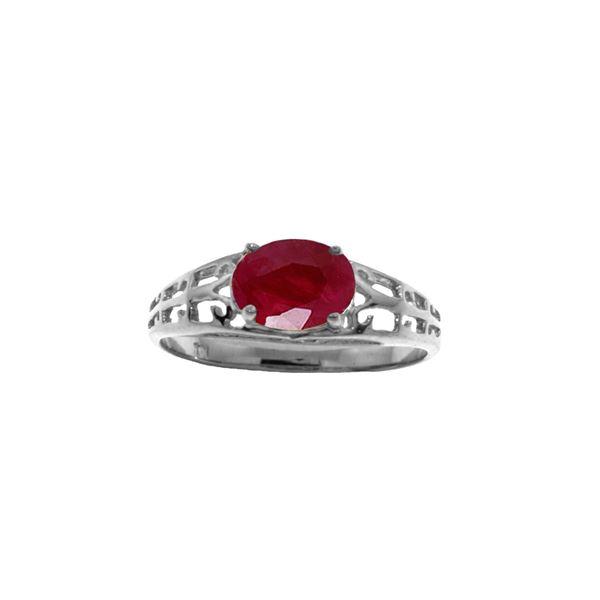 Genuine 1.15 ctw Ruby Ring 14KT White Gold - REF-35F9Z