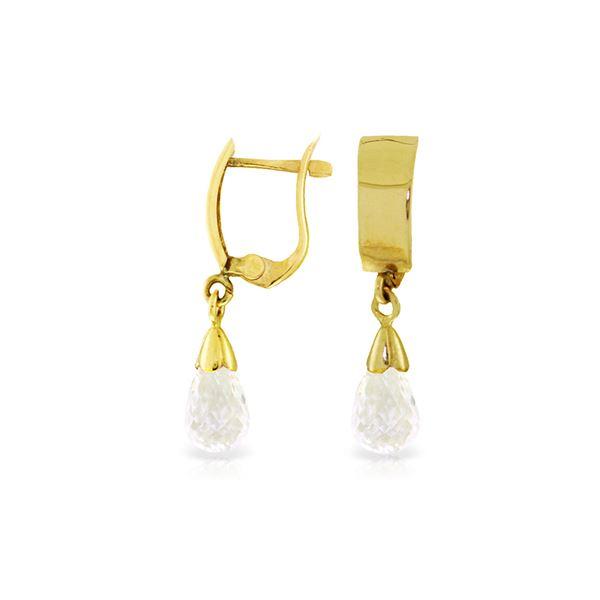 Genuine 2.5 ctw White Topaz Earrings 14KT Yellow Gold - REF-22W3Y