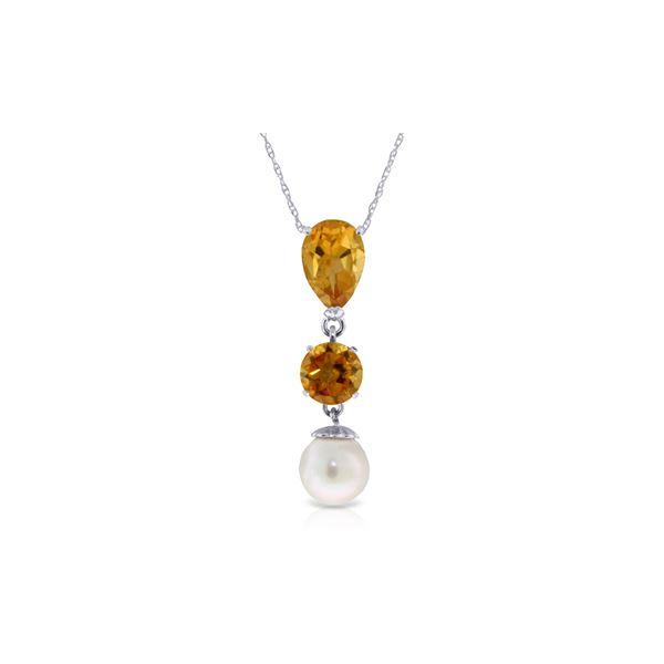 Genuine 5.25 ctw Citrine & Pearl Necklace 14KT White Gold - REF-25P9H