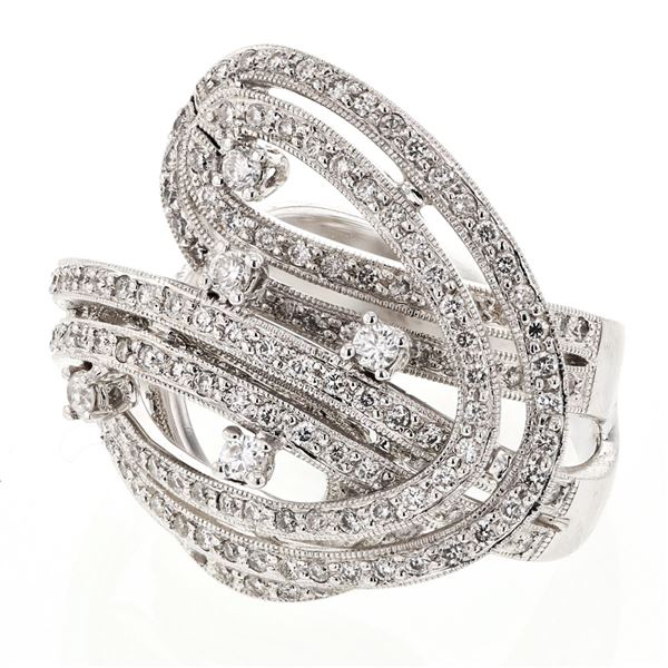 Natural 1.52 CTW Diamond Ring 18K White Gold - REF-300N6Y