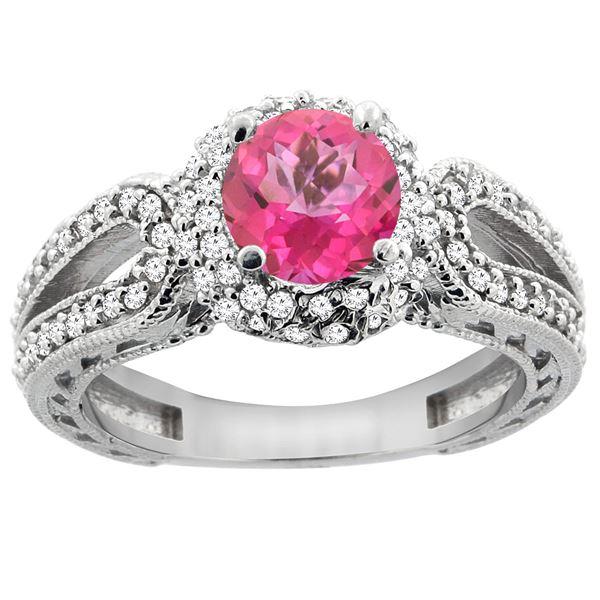 1.50 CTW Pink Topaz & Diamond Ring 14K White Gold - REF-86M9K