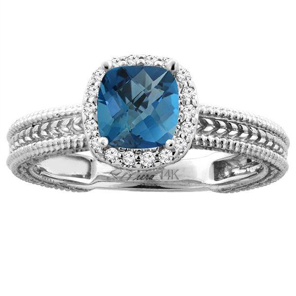 1.60 CTW London Blue Topaz & Diamond Ring 14K White Gold - REF-45V4R