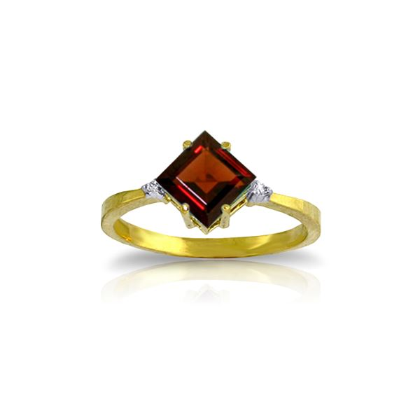 Genuine 1.77 ctw Garnet & Diamond Ring 14KT Yellow Gold - REF-28Y8F