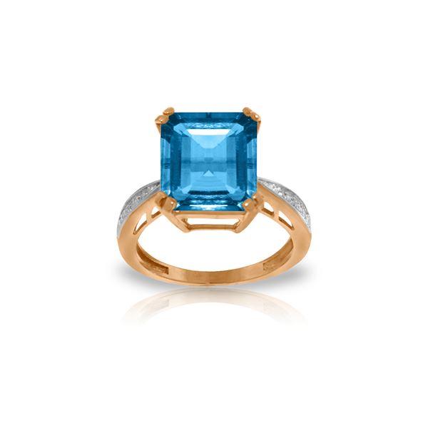 Genuine 7.62 ctw Blue Topaz & Diamond Ring 14KT Rose Gold - REF-84X6M