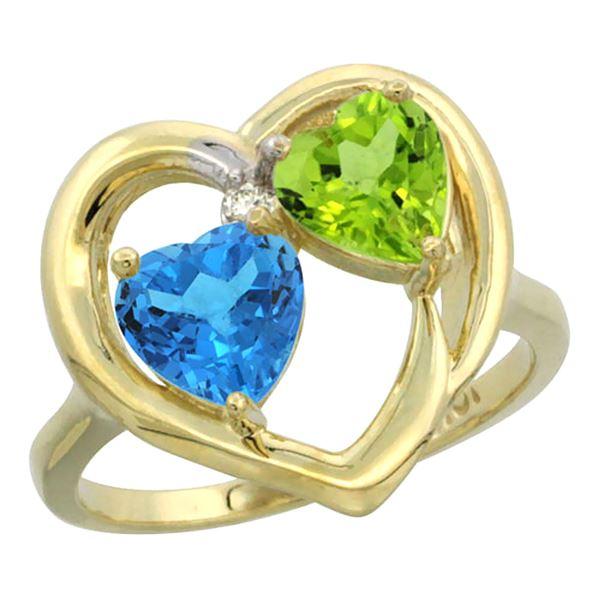 2.61 CTW Diamond, Swiss Blue Topaz & Peridot Ring 10K Yellow Gold - REF-23H7M