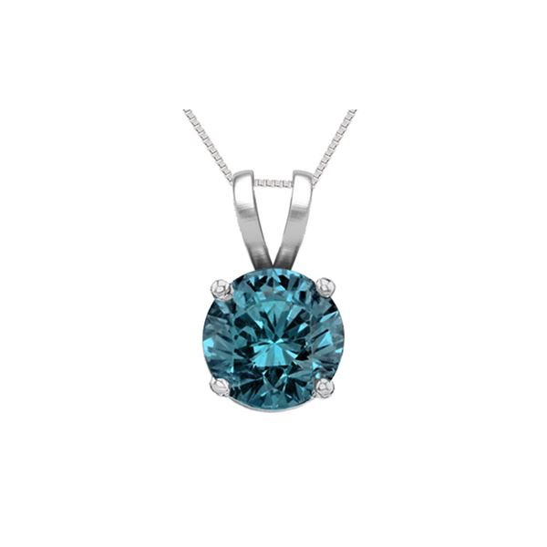 14K White Gold 1.03 ct Blue Diamond Solitaire Necklace - REF-186X8F