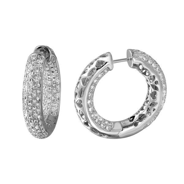 Natural 2.87 CTW Diamond Earrings 18K White Gold - REF-428K4R