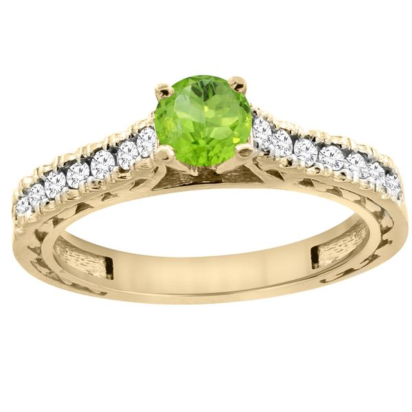 0.75 CTW Peridot & Diamond Ring 14K Yellow Gold - REF-62V3R