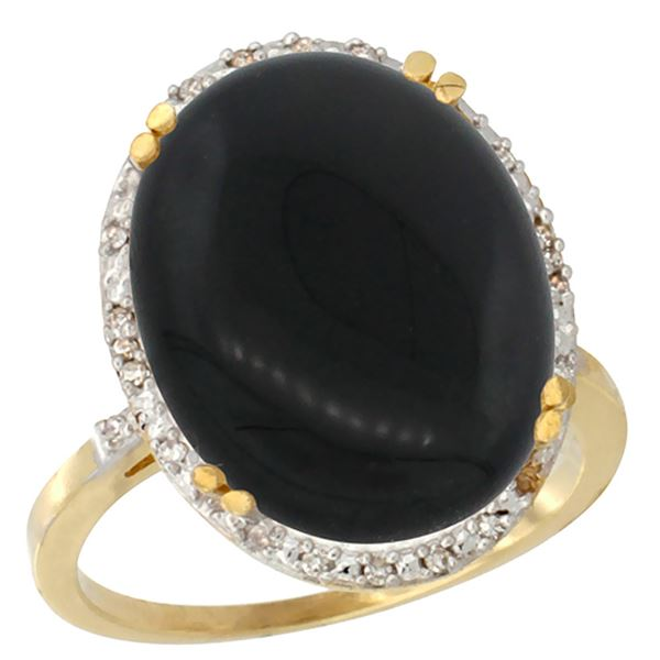 6.39 CTW Onyx & Diamond Ring 10K Yellow Gold - REF-42Y2V