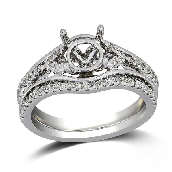 Natural 0.32 CTW Diamond & Wedding Ring Set 14K White Gold - REF-59T4X
