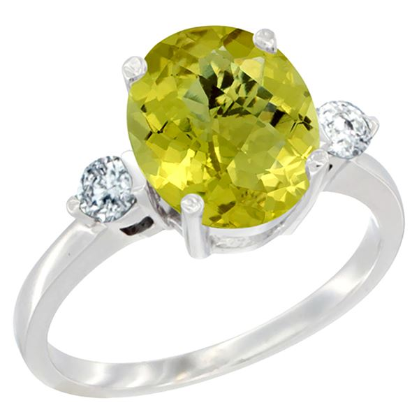 2.60 CTW Lemon Quartz & Diamond Ring 10K White Gold - REF-61A4X