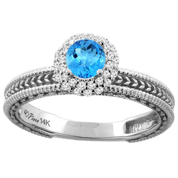 0.67 CTW Swiss Blue Topaz & Diamond Ring 14K White Gold - REF-53N3Y