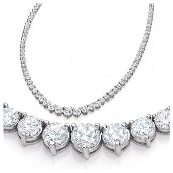 Natural 7.22CTW VS2/I-J Diamond Tennis Necklace 18K White Gold - REF-644H8M