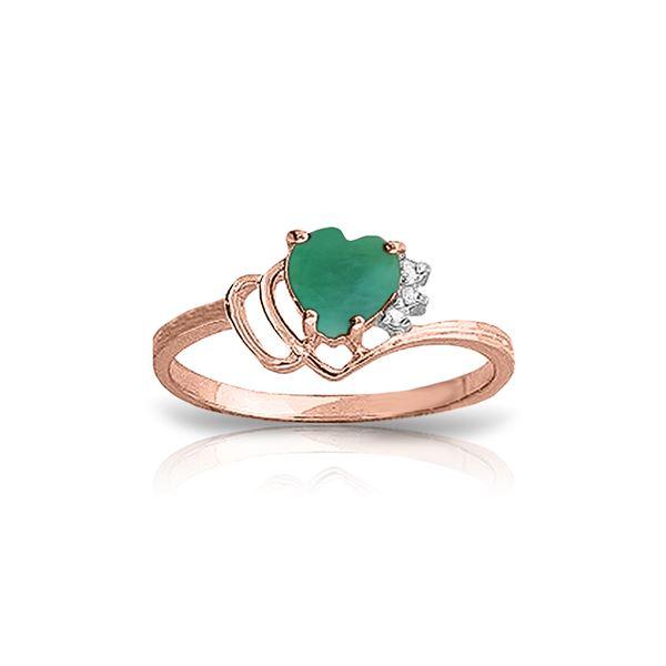 Genuine 1.02 ctw Emerald & Diamond Ring 14KT Rose Gold - REF-36K9V