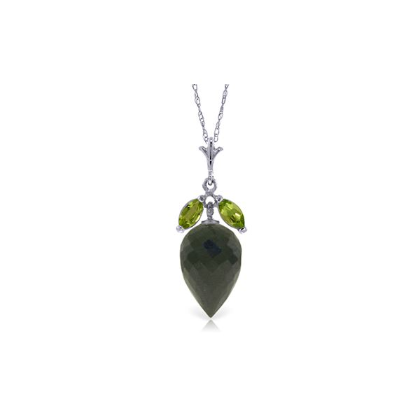 Genuine 12.75 ctw Black Spinel & Peridot Necklace 14KT White Gold - REF-27F6Z
