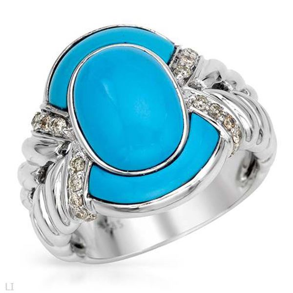 Natural 0.19 CTW Turquoise & Diamond Ring W=17MM 14K Gold - REF-109F8M