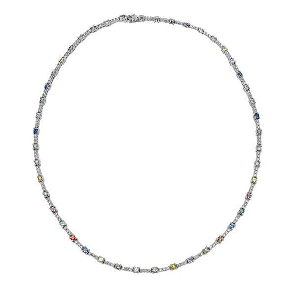 Natural 6 CTW Multi-Sapphire & Diamond Necklace 14K White Gold - REF-278T3X