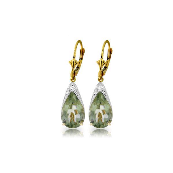 Genuine 10 ctw Green Amethyst Earrings 14KT Yellow Gold - REF-55Y5F