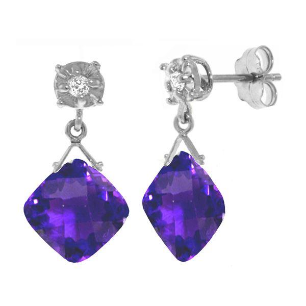 Genuine 17.56 ctw Amethyst & Diamond Earrings 14KT White Gold - REF-48F3Z
