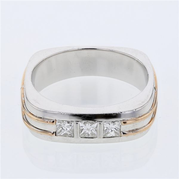 Natural 0.49 CTW Princess Diamond Ring 14K Two Tone Yellow Gold - REF-204W3H