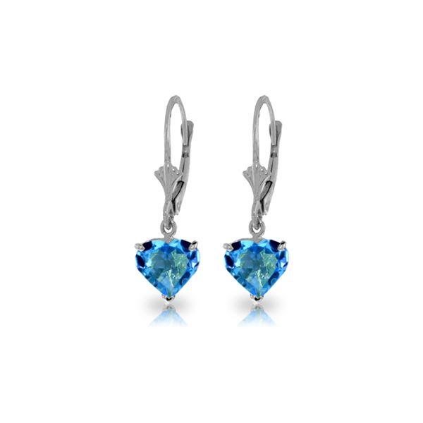 Genuine 3.25 ctw Blue Topaz Earrings 14KT White Gold - REF-29Z2N