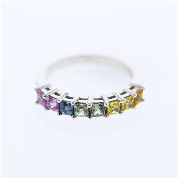 Natural 1.29 CTW Multi-Sapphire Band Ring W=3MM 14K Gold - REF-37N8Y