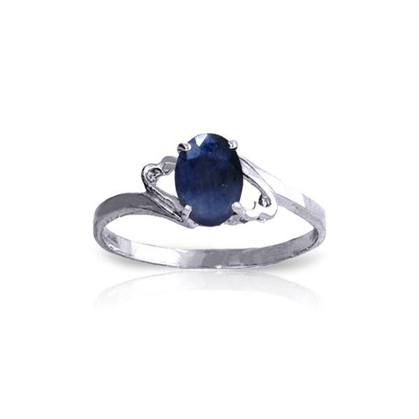 Genuine 1 ctw Sapphire Ring 14KT White Gold - REF-22F3Z