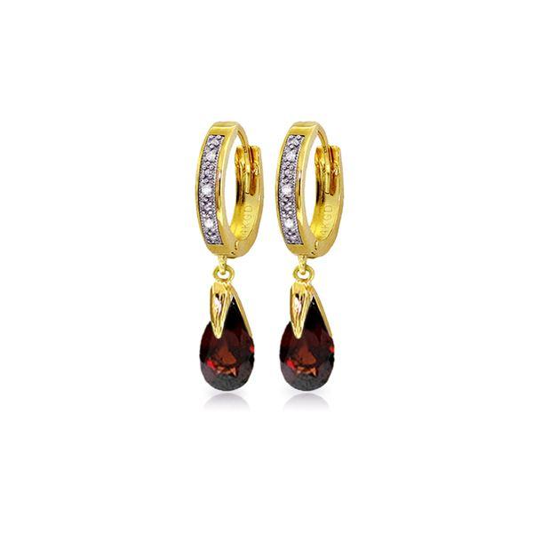 Genuine 2.53 ctw Garnet & Diamond Earrings 14KT Yellow Gold - REF-60F4Z