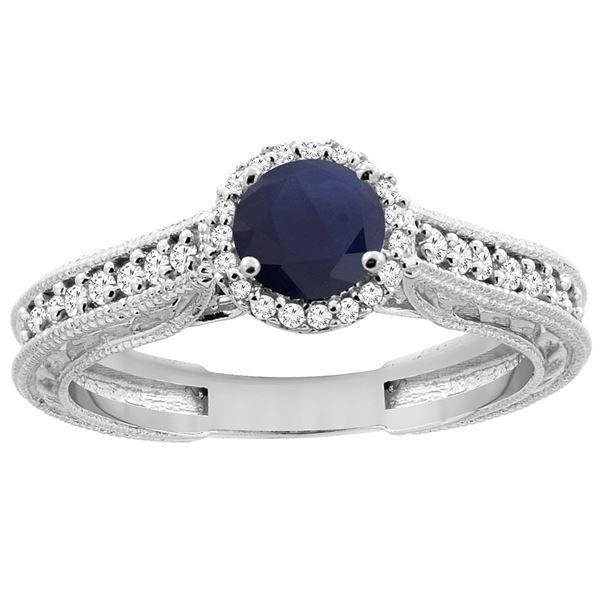 1.29 CTW Blue Sapphire & Diamond Ring 14K White Gold - REF-88X6M