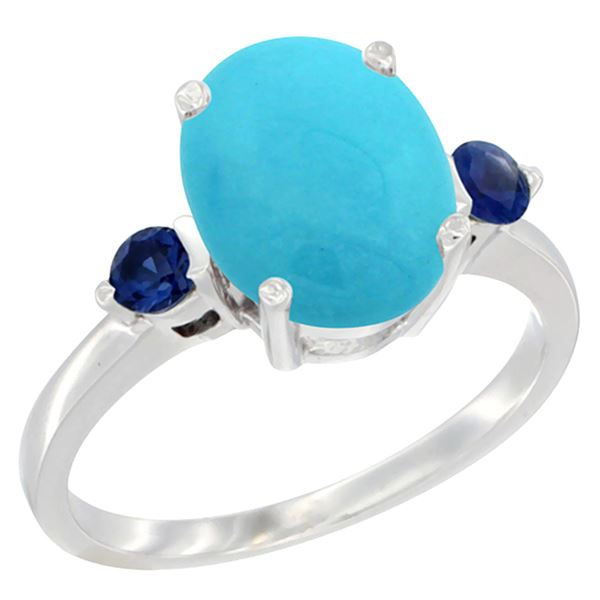 2.64 CTW Turquoise & Blue Sapphire Ring 14K White Gold - REF-38X2M