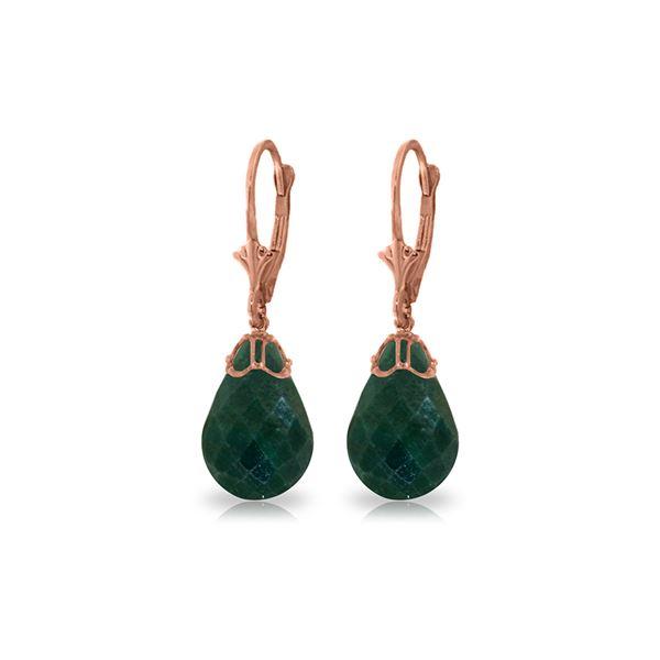 Genuine 29.6 ctw Green Sapphire Corundum Earrings 14KT Rose Gold - REF-40H7X