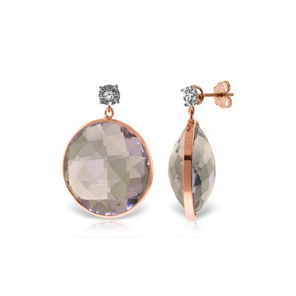 Genuine 36.06 ctw Amethyst & Diamond Earrings 14KT Rose Gold - REF-87R5P