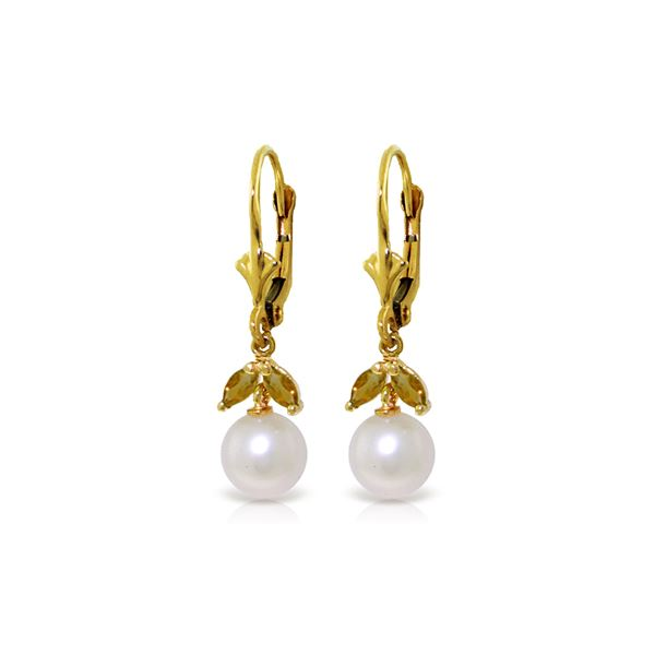 Genuine 4.4 ctw Pearl & Citrine Earrings 14KT Yellow Gold - REF-25H3X