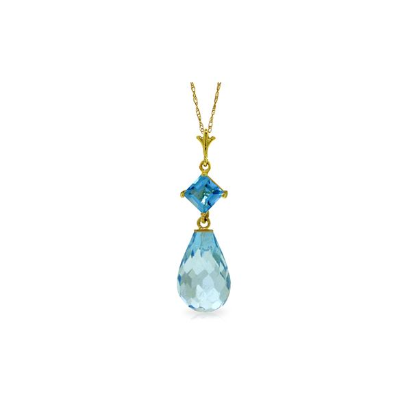 Genuine 5.5 ctw Blue Topaz Necklace 14KT Yellow Gold - REF-22T2A