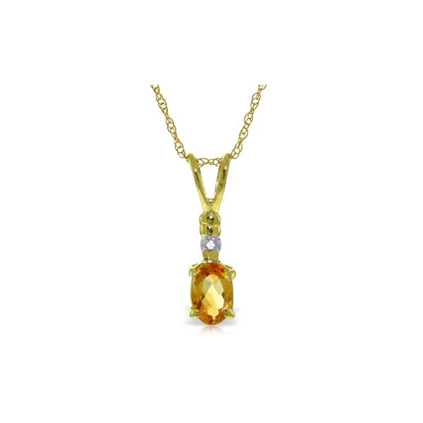 Genuine 0.46 ctw Citrine & Diamond Necklace 14KT Yellow Gold - REF-21H6X