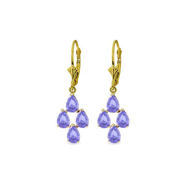 Genuine 4.5 ctw Tanzanite Earrings 14KT Yellow Gold - REF-63V2W