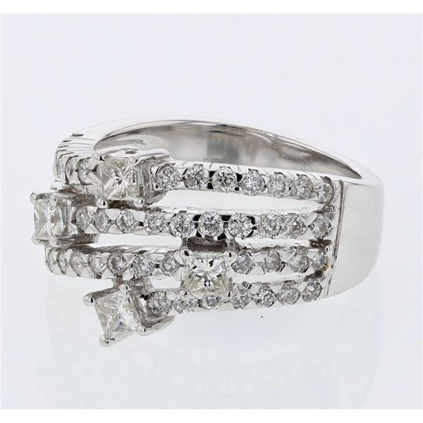 Natural 1.27 CTW Diamond & Princess Diamond Ring 18K White Gold - REF-196F2M