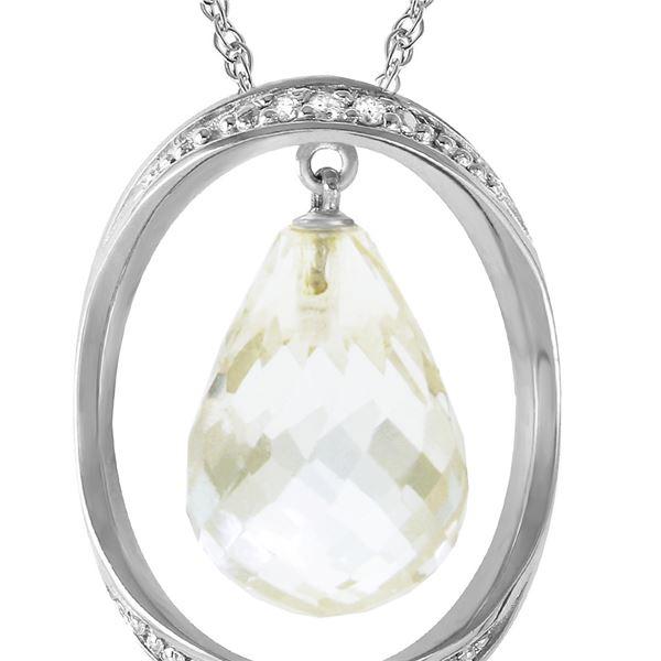 Genuine 11.60 ctw White Topaz & Diamond Necklace 14KT White Gold - REF-112P2H