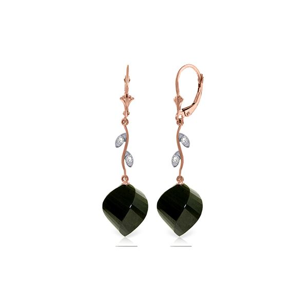 Genuine 31.02 ctw Black Spinel & Diamond Earrings 14KT Rose Gold - REF-53F4Z